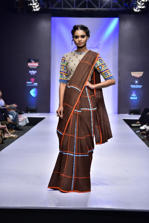 Brown Hand Embroidered Saree with Beige Checks Dress