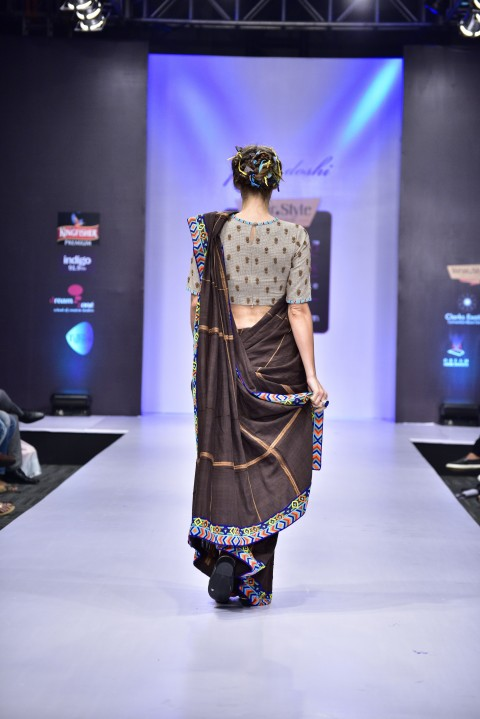 Brown Hand Embroidered saree with Beige Blouse