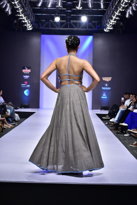Grey Hand Embroidered Backless Dress
