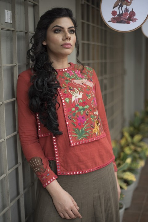 Red khadi hand embroidered top and brown skirt