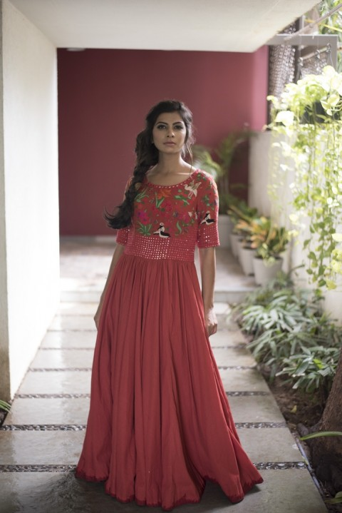 Red khadi hand embroidered gown