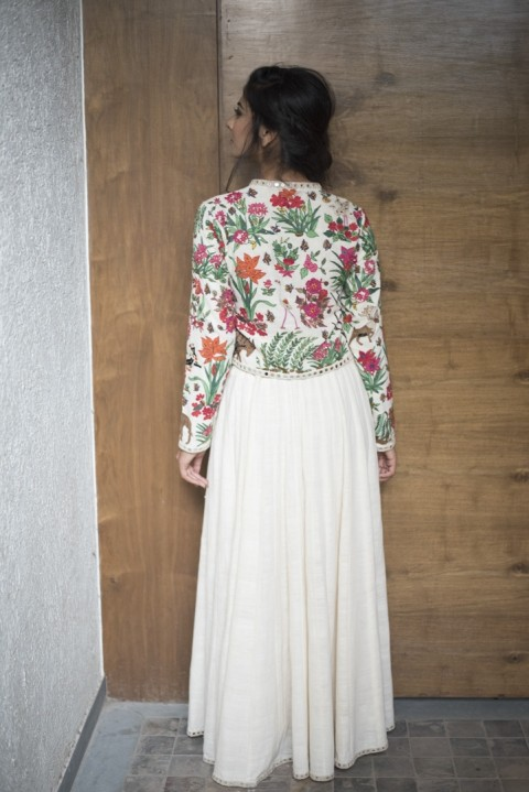 Off-white Handwoven hand embroidered top and skirt