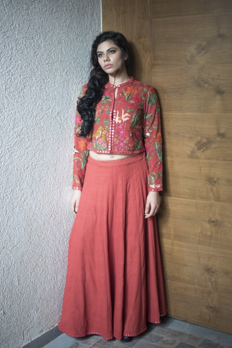 Red khadi hand embroidered top and skirt
