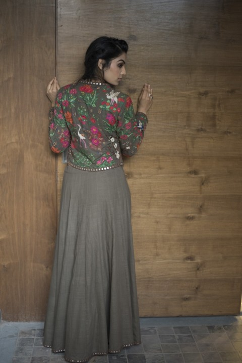Brown Handwoven hand embroidered top and skirt