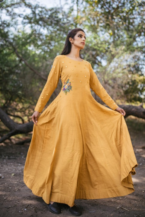 Yellow Khadi Dress