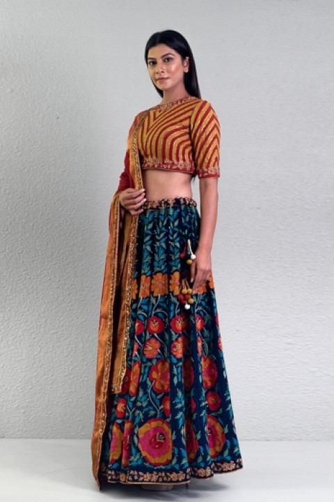 Navy blue handwoven hand embroidered lehenga