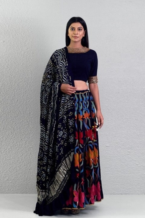 Navy blue handwoven hand embroidered lotus lehenga
