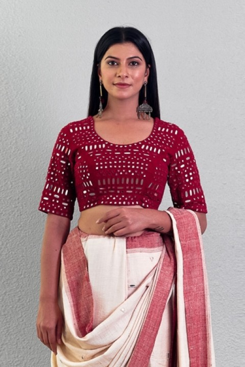Red handwoven mirror work blouse
