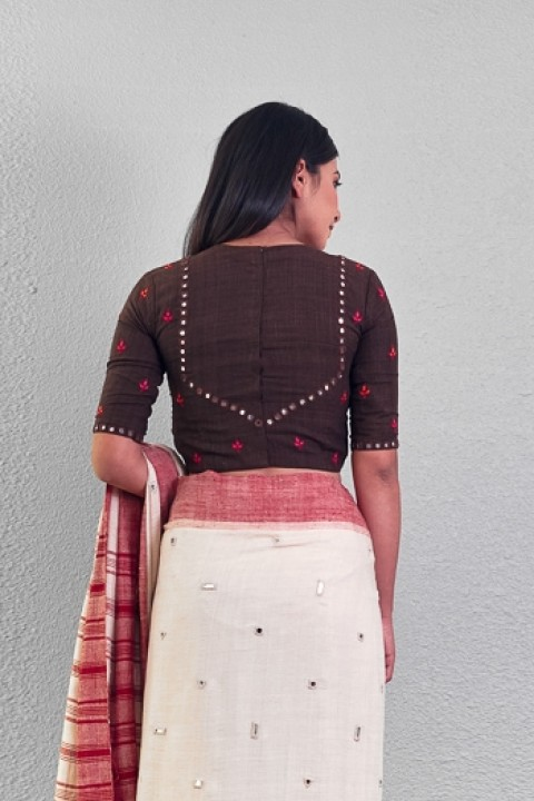 Coffee handwoven mirror and hand embroidered blouse