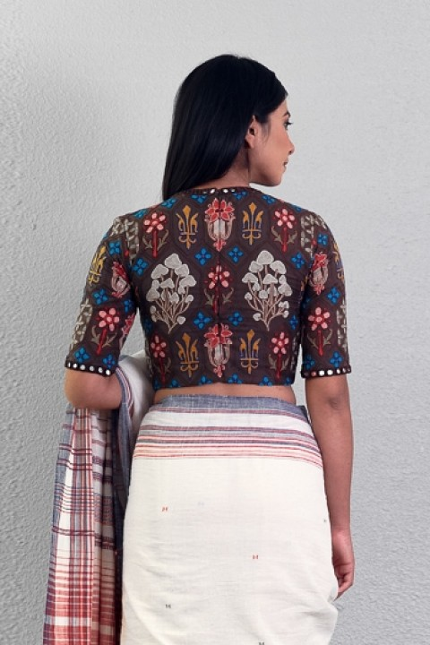 Coffee handwoven geometrical hand embroidered blouse
