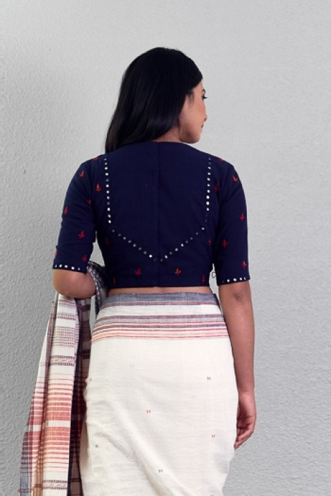 Navy blue handwoven mirror and hand embroidered blouse