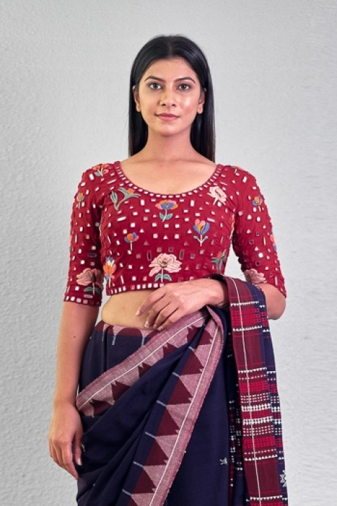 Red handwoven hand embroidered blouse