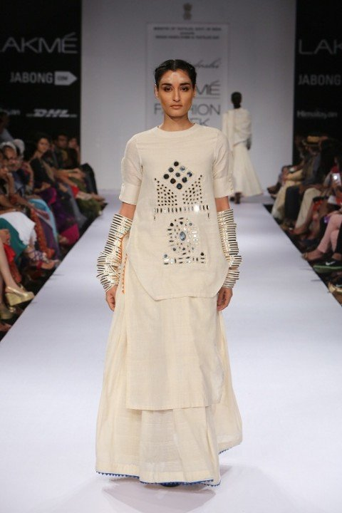 Mirror Embroidered Ivory Double Layered Dress