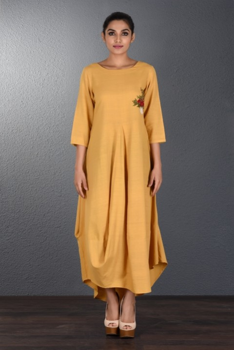Yellow Handwoven Front Cowl Dress