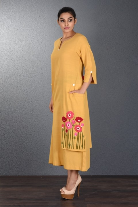 Yellow handwoven Pocket Tunic