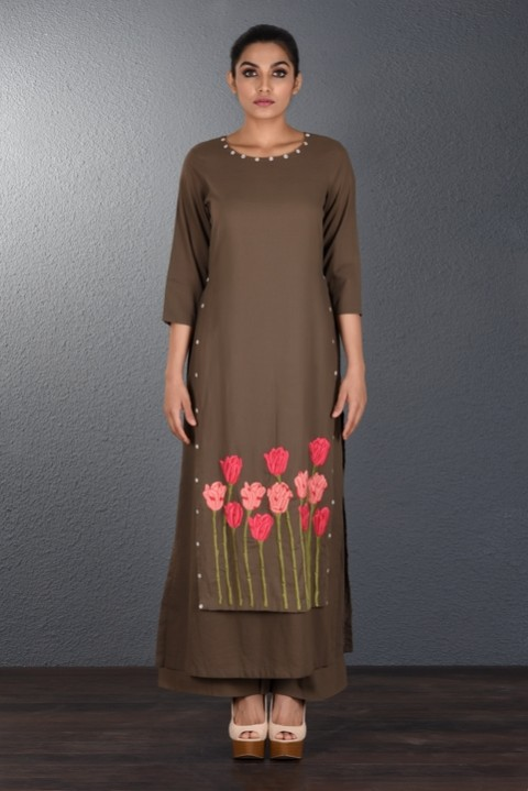 Brown Hand Embroidered Long Tunic