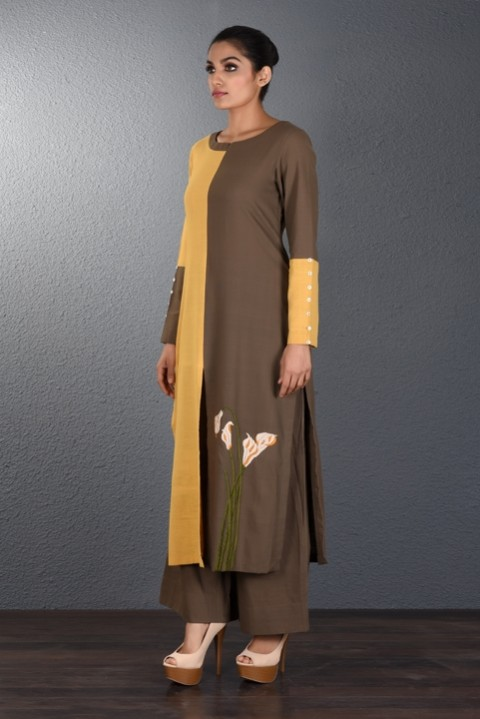 Yellow-Brown Hand Embroidered Tunic