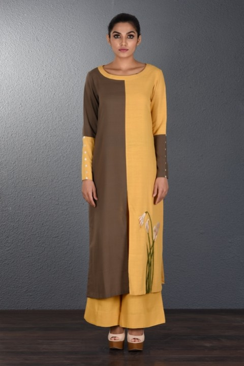Brown-Yellow hand Embroidered Tunic