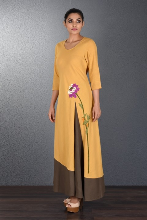 Yellow-Brown Handwoven Dress