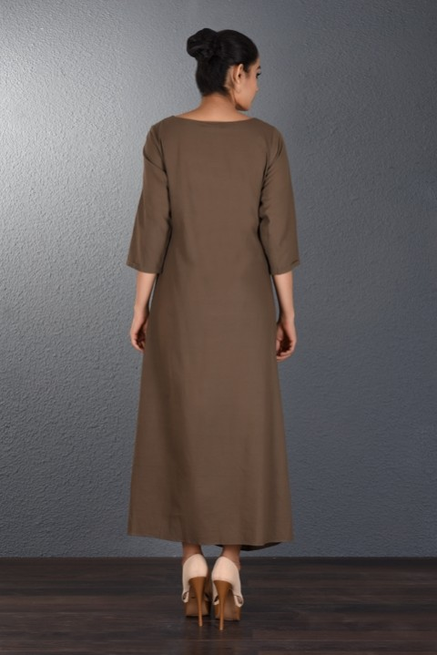 Brown Handwoven Front Cowl Dress