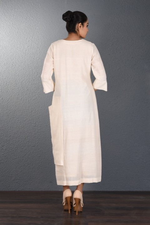 Off White Handwoven Pocket Dress