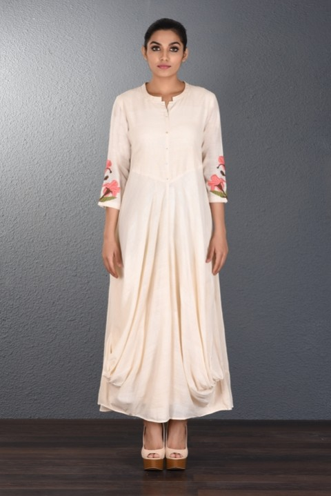 Off White Double Cowl Dress