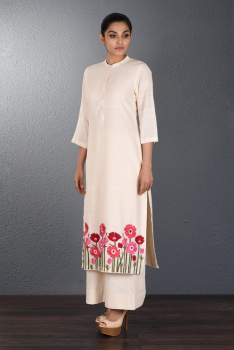 Brown Khadi Hand Embroidered Tunic