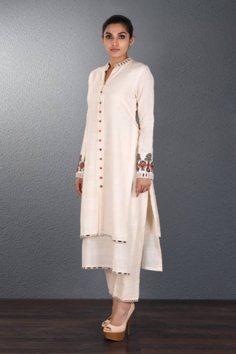 Off White Two Layered Tunic