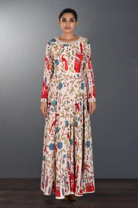 Off-white handwoven hand embroidered dress