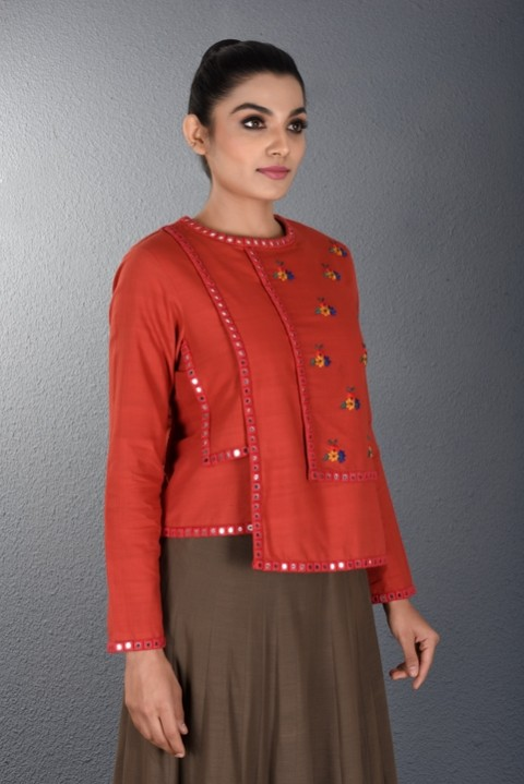 Red Hand Embroidered Layered top