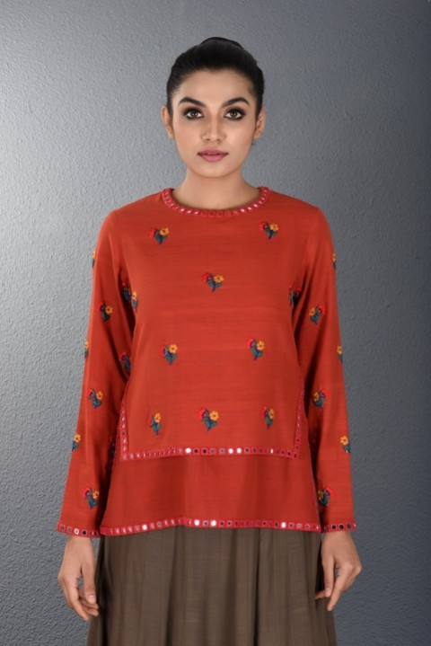 Red khadi Two layered hand Embroidered Top