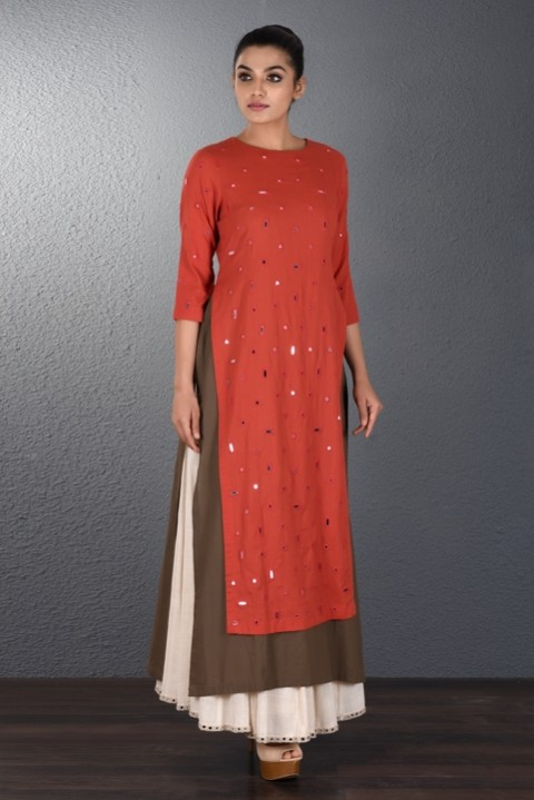Red-Brown Two Layered Scattered Mirror tunic