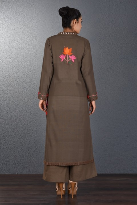 Brown Hand Aari Embroidered Tunic
