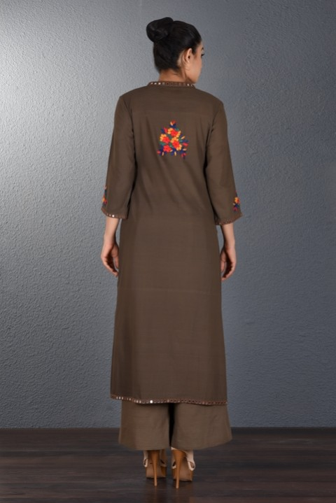 Brown Hand Embroidered Tunic