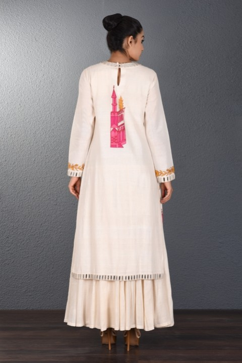 Off White Hand Aari Embroidered Two Layered Dress
