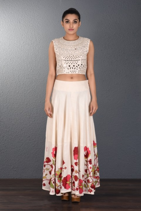 Off White Hand Aari Embroidered Skirt