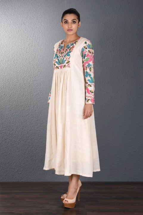 Off White Hand Aari Embroidered Tunic