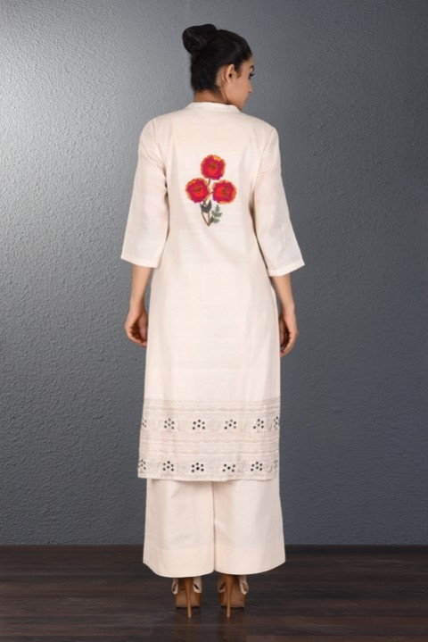 Off White Hand Embroidered Tunic