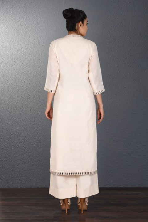 Off White Hand Embroidered Dress