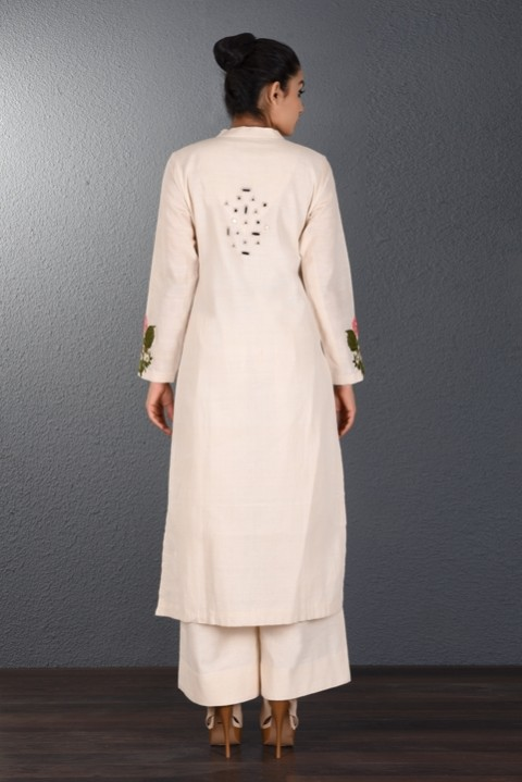 Off-white handwoven scattered mirror tunic
