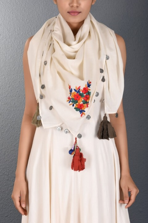 Off White Parsi Hand Embroidered Stole