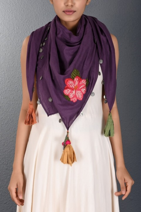 Purple Hand Embroidered Stole