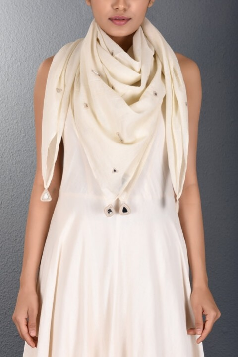 Off White Scattered Mirror Stole