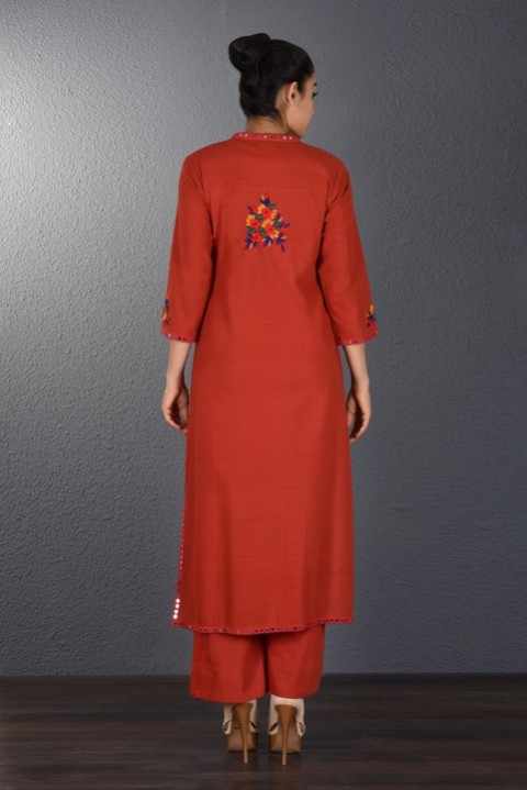 Red Hand Embroidered Tunic