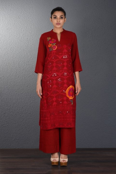 Blood Red Hand Embroidered Tunic