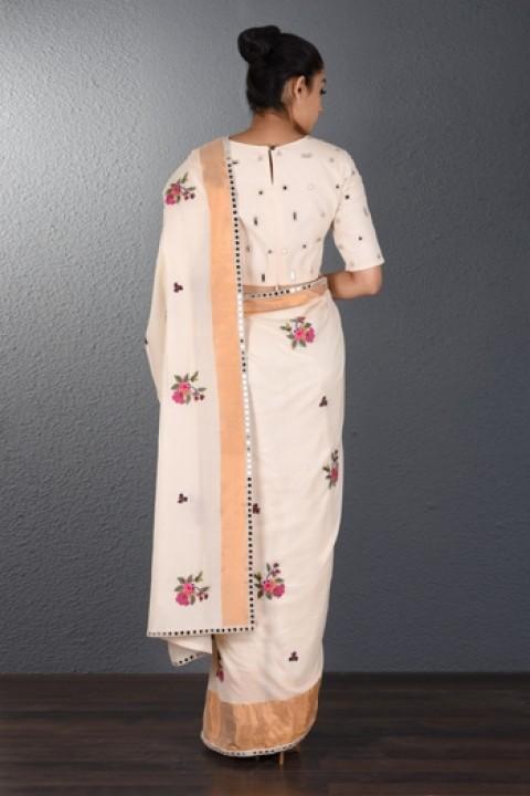 Offwhite venkatgiri Hand embroidered saree