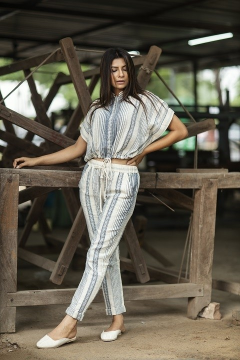 Blue kala cotton crop top with mandrin collar and ankle length pants