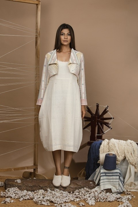 Kala cotton cacoon dress with detailing at the neckline and kala cotton short jacket